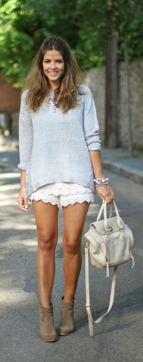 White Crochet Lace Short with Comfy Sweater and Cowboy Boots | Spring Street Outfits