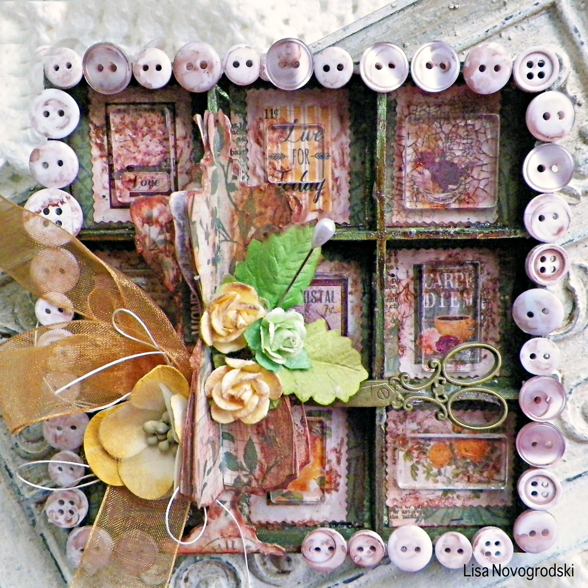Dress Form Shadowbox by Lisa Novogrodski using BoBunny Rose Cafe Sticker Stamps