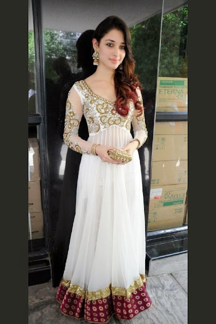 1820-Tamannah Bhatia In White Resham Embroidery Anarkali Suit