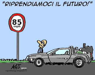 Leopolda, Renzi, futuro, de lorean, ritorno al futuro, vignetta satira