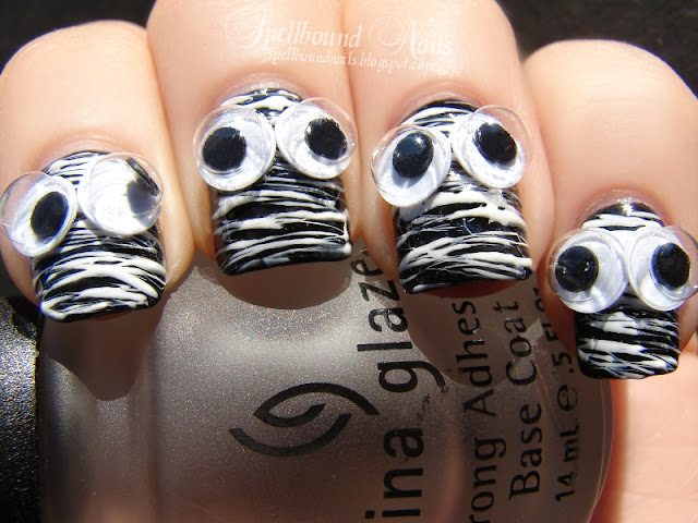 nails nailart nail art mani manicure Spellbound mummy Doctor Who quote Halloween Nail-Aween Challenge googly eyes stripes string spun sugar