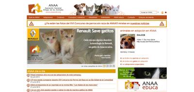 Portada web de ANAA protectora de animales