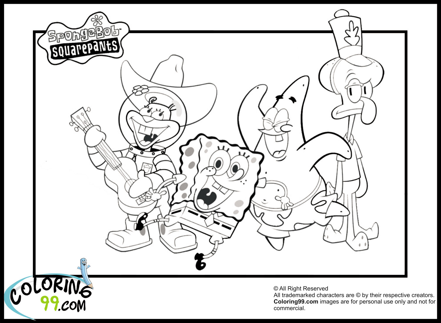 sponge bob coloring printable pages - photo#34