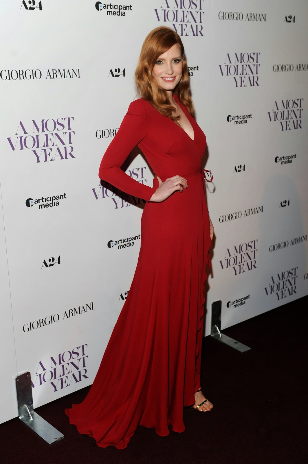 Jessica Chastain in a Giorgio Armani gown at the 'A Most Violent Year' premiere in New York City