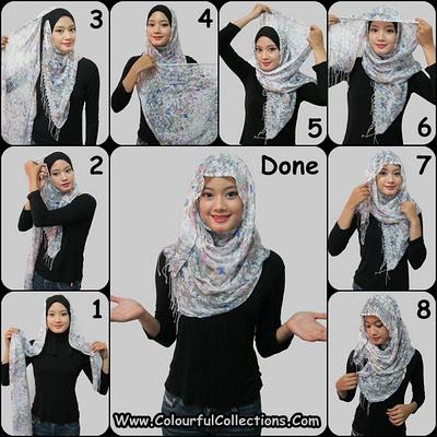 ... tutorialnya langsung berupa gambar kumpulan gambar cara pakai shawl