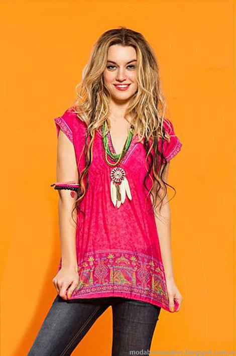 Moda verano 2015 tunicas y blusas bordadas Sophya.