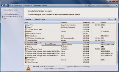 Programs and Features screenshot