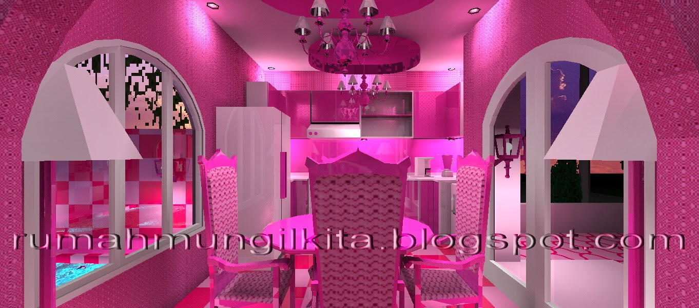 real barbie dream house castle, pink dining room and kitchen