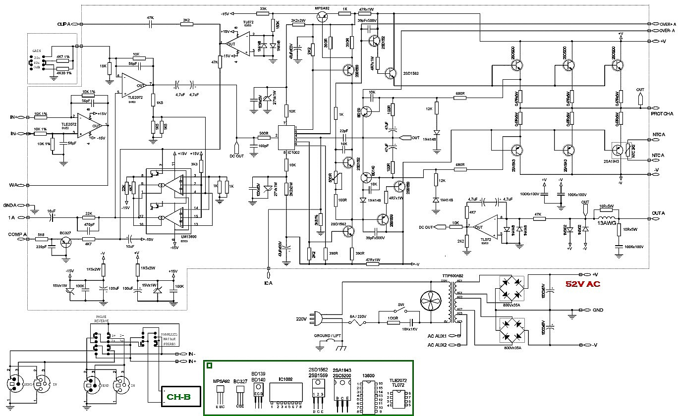 audio amplifier circuit diagram used semiconductors 2sc5200  u2013 2sa1943  power amp output  tl072