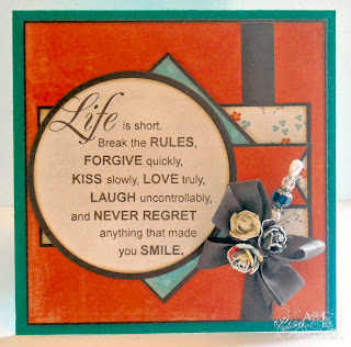 Stamps - Verses Life's Rules, paper My Minds Eye on the Bright Sice Two, Prima Flowers, Vintage Walnut Seam Binding