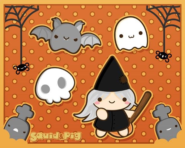 Dibujos de halloween kawaii mejor conjunto de frases - Imagenes de halloween ...