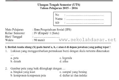 Download Kumpulan Soal UTS SD Kelas 4 Semester 1