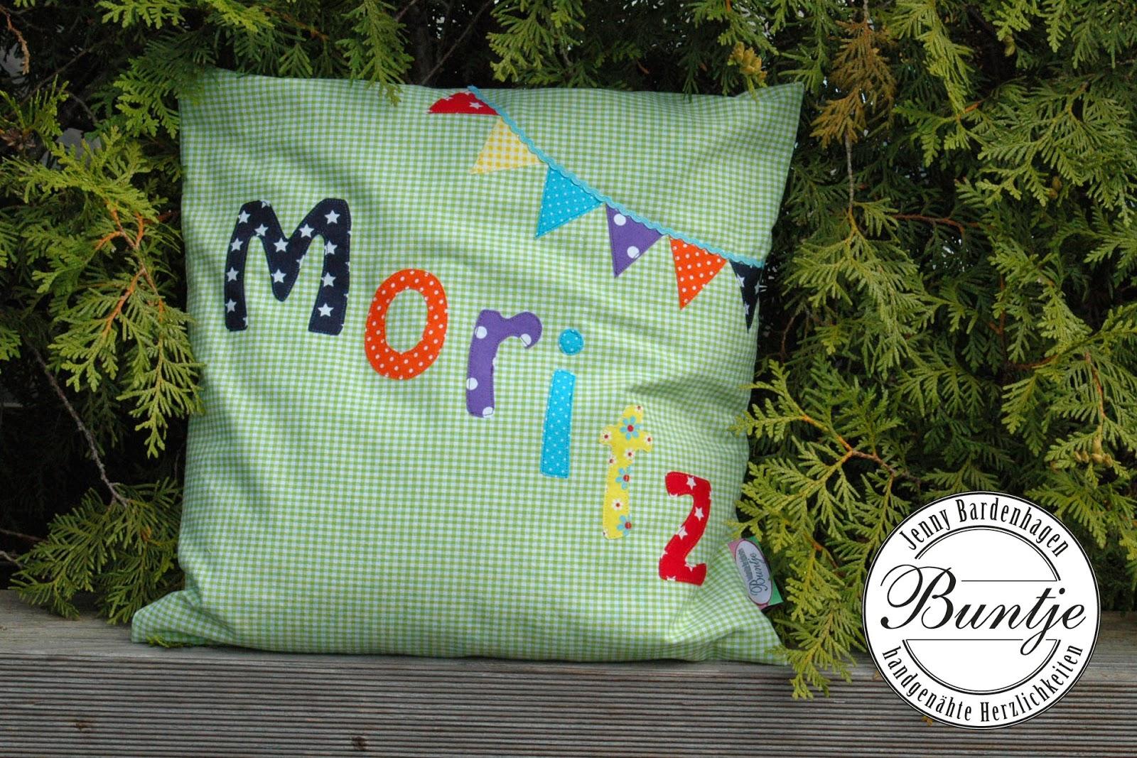 Namenskissen Kissen Name Junge Geschenk Geburt Taufe Moritz grün Wimpelkette Baby bunt Baumwolle nähen Buntje