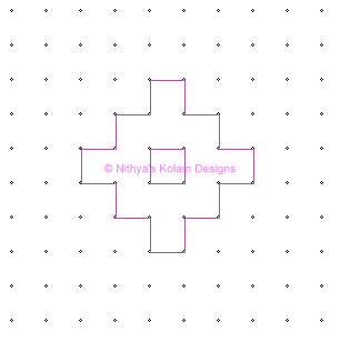 3 Deepam Kolam  dots 10 x 10