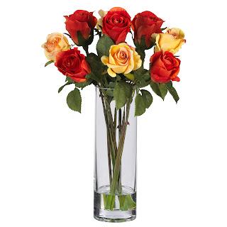 flores en jarron de cristal