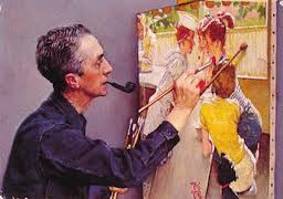 Photo of Norman Rockwell working on a painting.