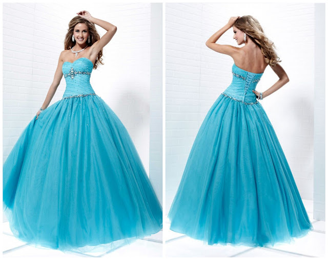 blue ball gowns