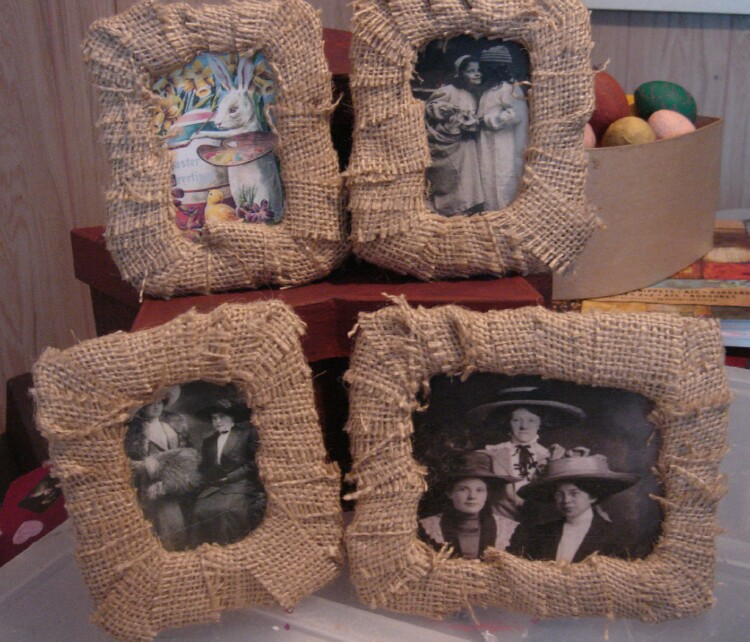 All Thumbs Crafts: How to Make Burlap Frames - Without any Wood