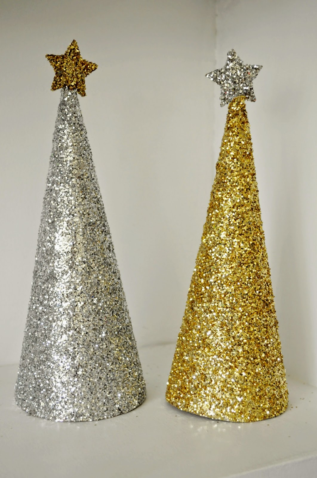 Glitter christmas trees craft sew love grow