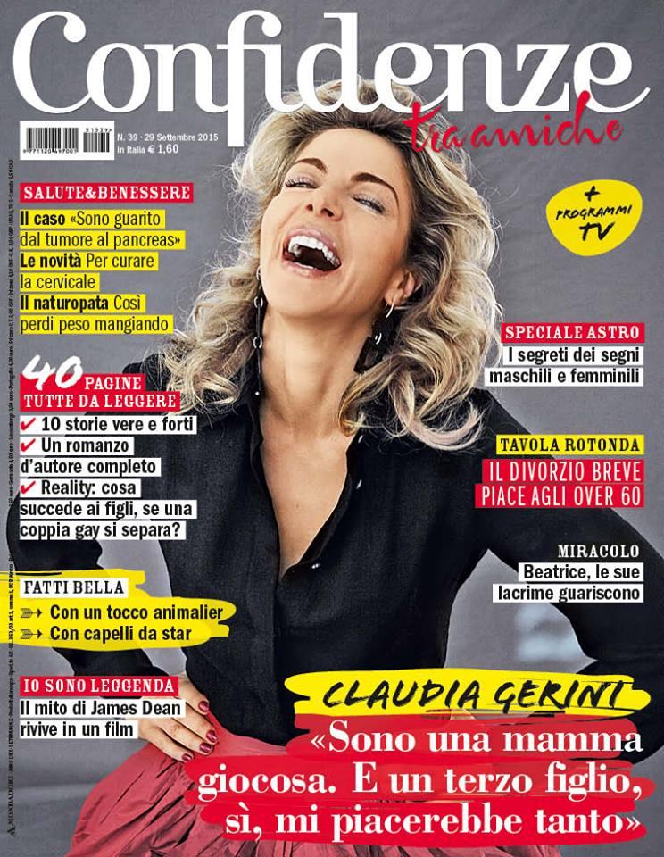 """Intervista sul settimanale """"Confidenze"""" n°39 del 29/09/2015"""