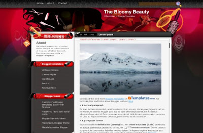 Free Blogger Pink Red Beauty Salon Theme Template
