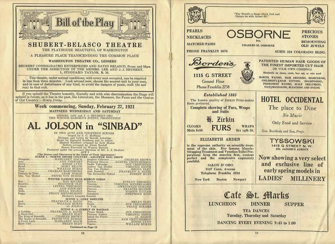 Theatre Program Al Jolson
