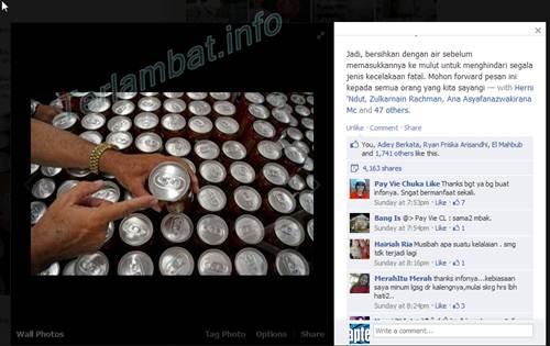 minuman kaleng berbahaya facebook