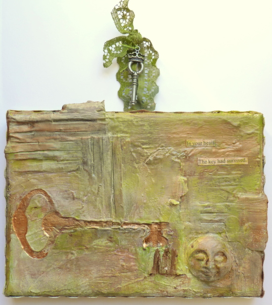 Whoopidooings: Carmen Wing - Grungy Mixed Media canvas - In Your Heart The Key Had Survived