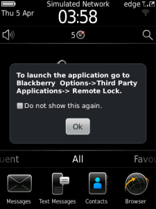 Applications that Can Lock the BlackBerry Using the SMS / Email