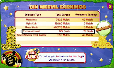 Binweevils Earning Dosh Coins and Mulch