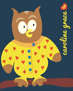 Cute Kids Owl PJs Pajamas Icon Vector