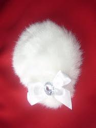 white faux fur fascinator