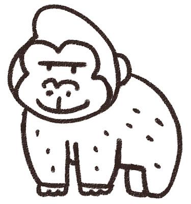 ゴリラのイラスト(動物) 白黒線画