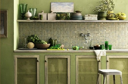 Beautiful abodes using green - Kitchen colour schemes green ...