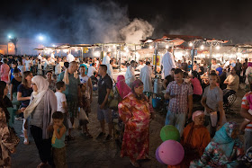 Jemaa el-Fnaa square at night, Marrakech while teaching english abroad in Morocco.