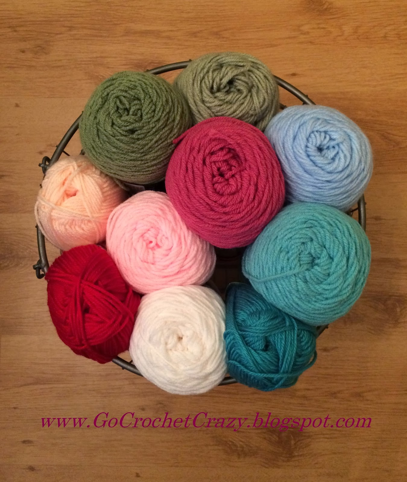 A lovely yarn selection for an upcoming giant granny afghan with Cath Kidston-inspired colors.