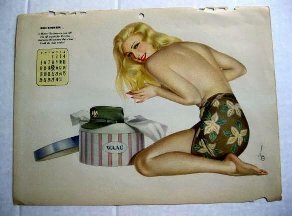 Varga girl calendrier Esquire 1943 pendant la seconde guerre mondiale Pin-up blonde sexy en short militaire et casquette