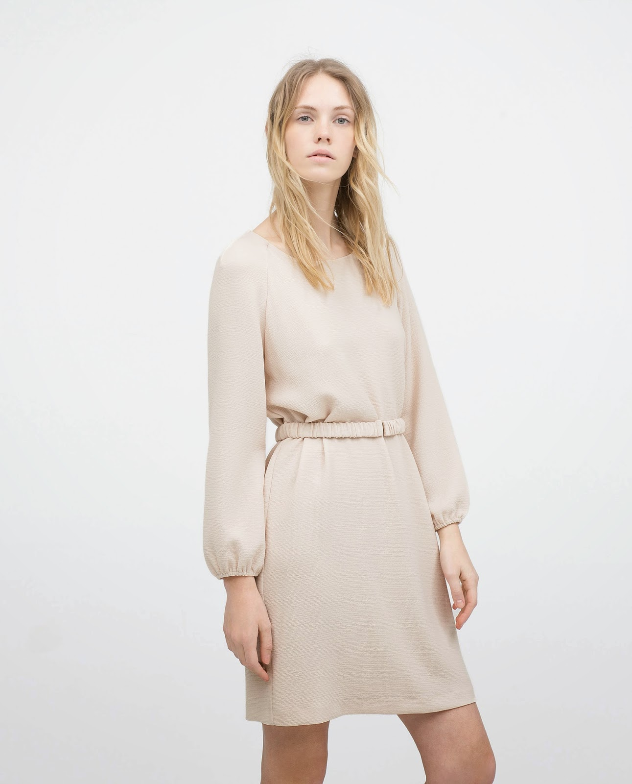 zara cream dress with belt,