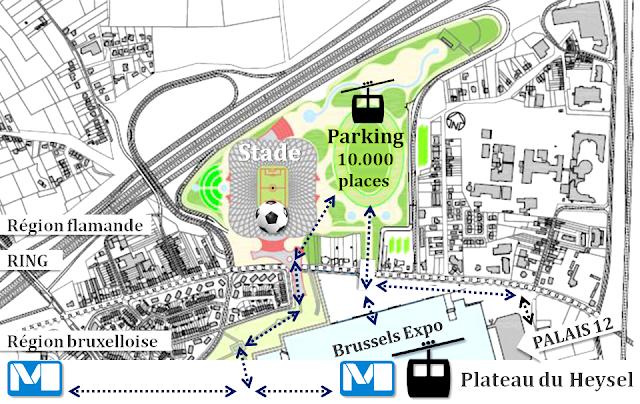 Plateau du Heysel - Bruxelles - Jonction entre le futur parking souterrain, le stade de football, les stations de métro existantes et les multiples activités déployées sur le plateau du Heysel - Bruxelles-Bruxellons