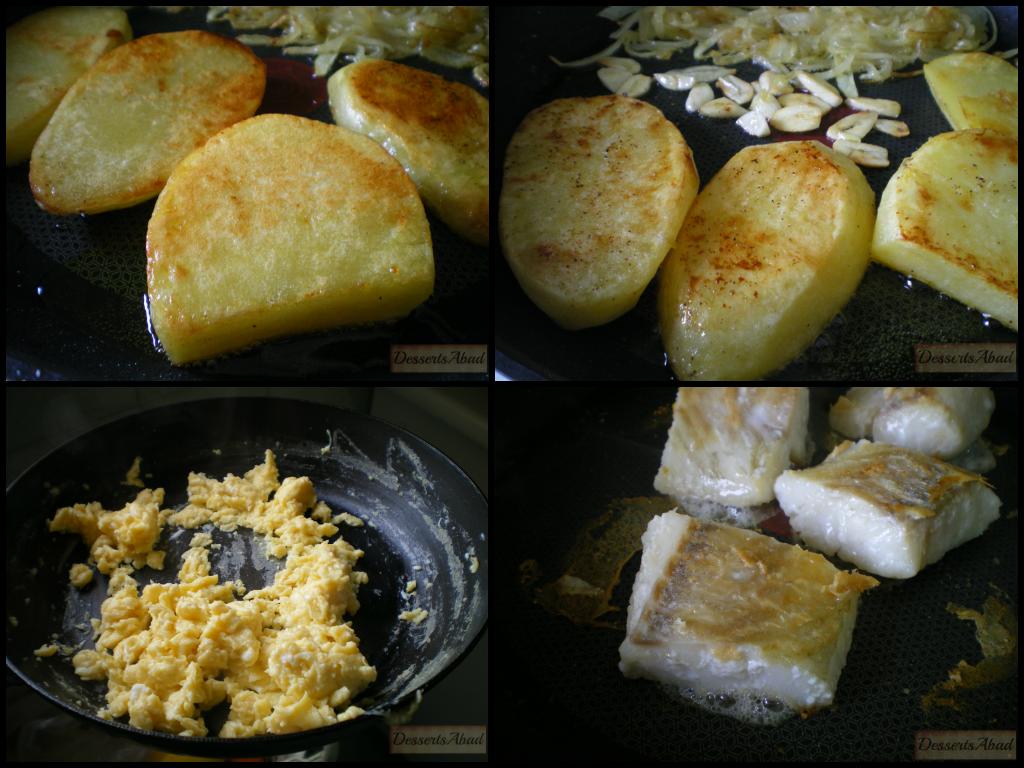 Milhojas de bacalao, revuelto y patatas. Elaboración