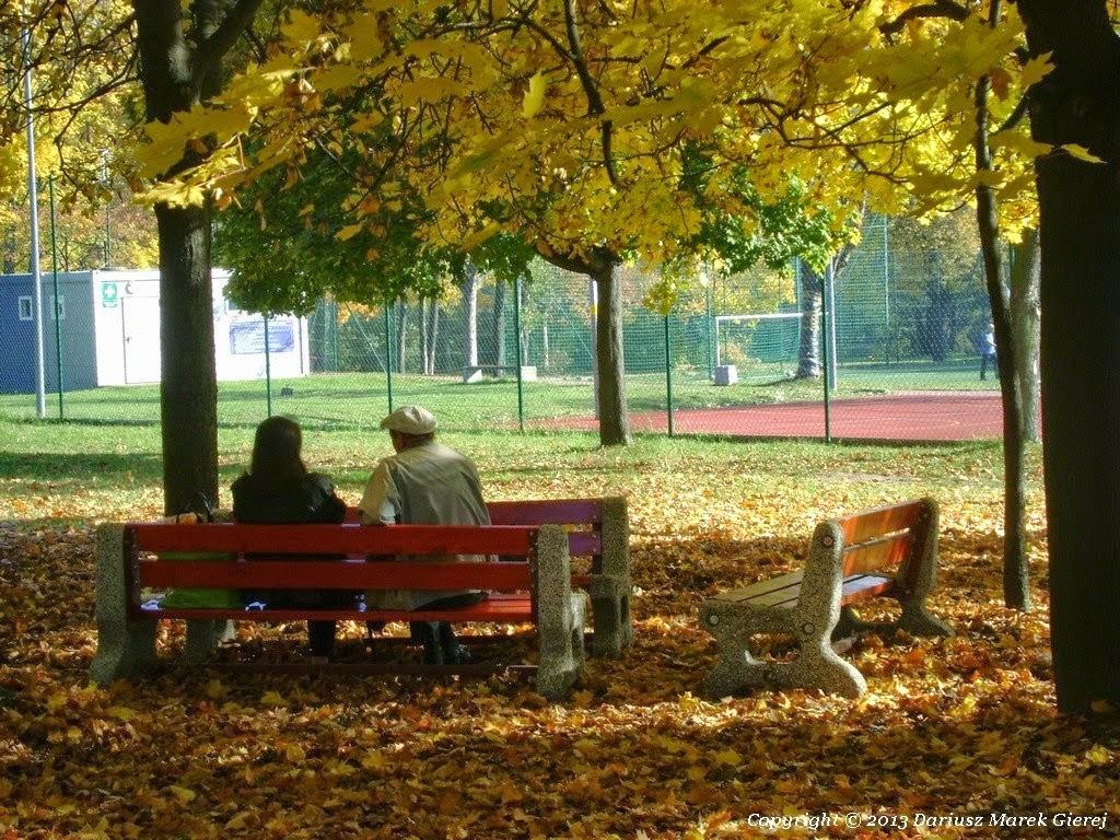 """Jesienny spacer zdjęcie Dariusz Marek Gierej do wiersza pt. """"Jesienna ławeczka"""" Jolanty Marii Dzienis"""