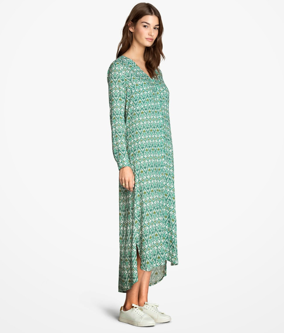 H&m Patterned Long Shirt Dress
