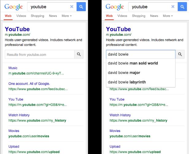 Google 5. září oznámil implementaci tzv. search boxu pro interní hledání na  daném webu s podporou našeptávače (autocomplete) do SERPu. 7525b53b1e