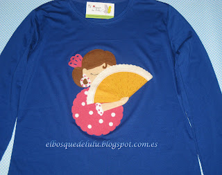 camiseta-decorada-customizada-fieltro-flamenca