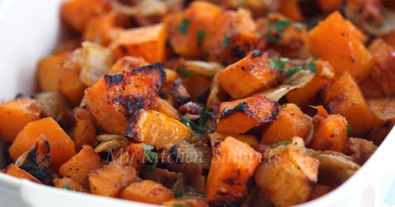 Roasted Maple and Bacon Butternut Squash