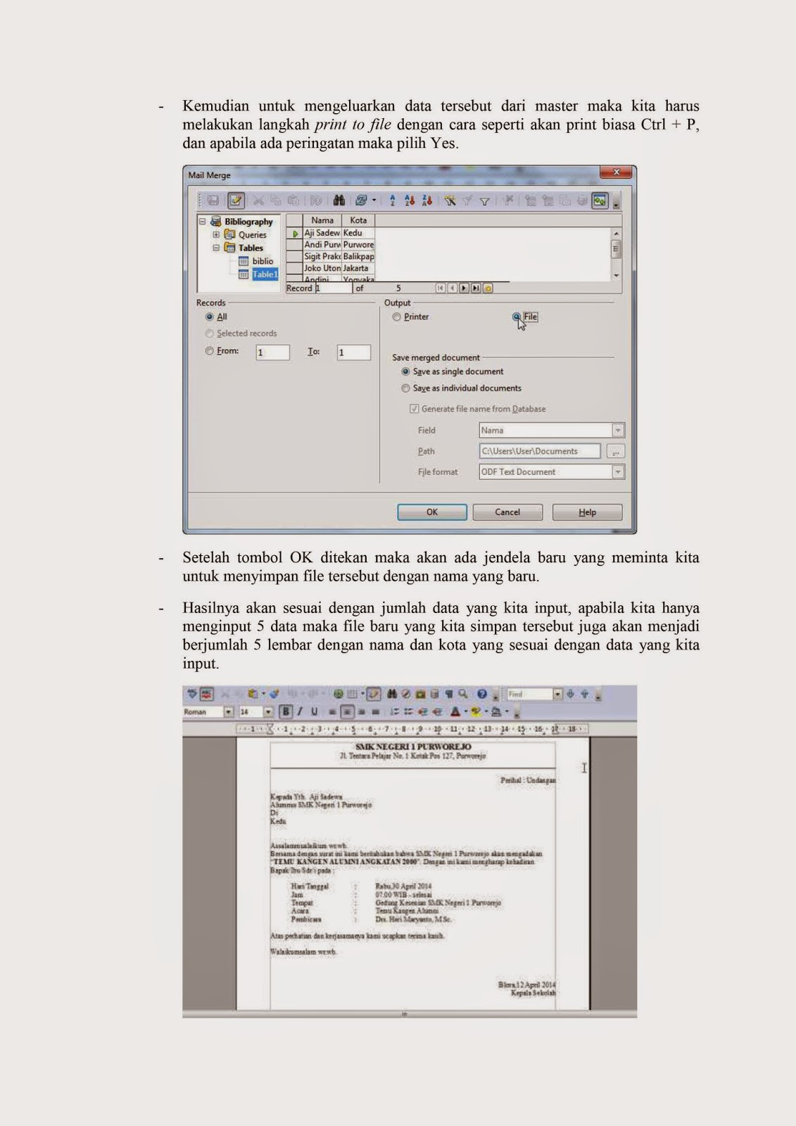 mail merge, open office writer, laporan akhir, la gunadarma