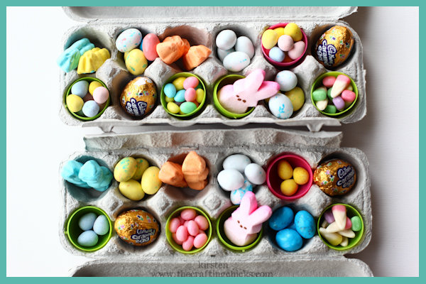 DIY Egg Carton Easter Basket Alternative - Close it up and wrap it in pretty fabric tied off with ribbon