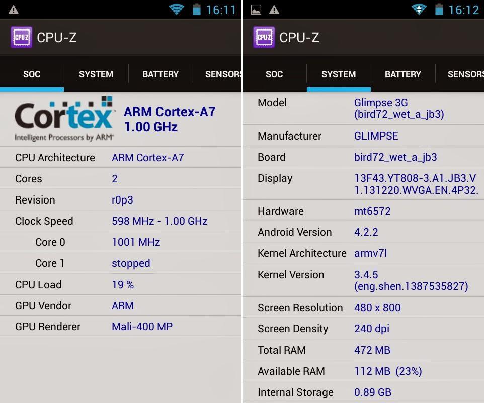 SKK Mobile Glimpse 3G CPU-Z Info