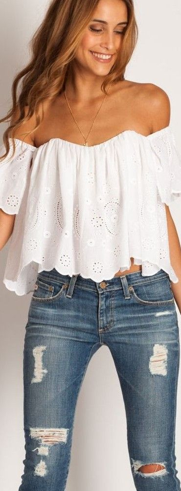 Off shoulder white top and denim fashion