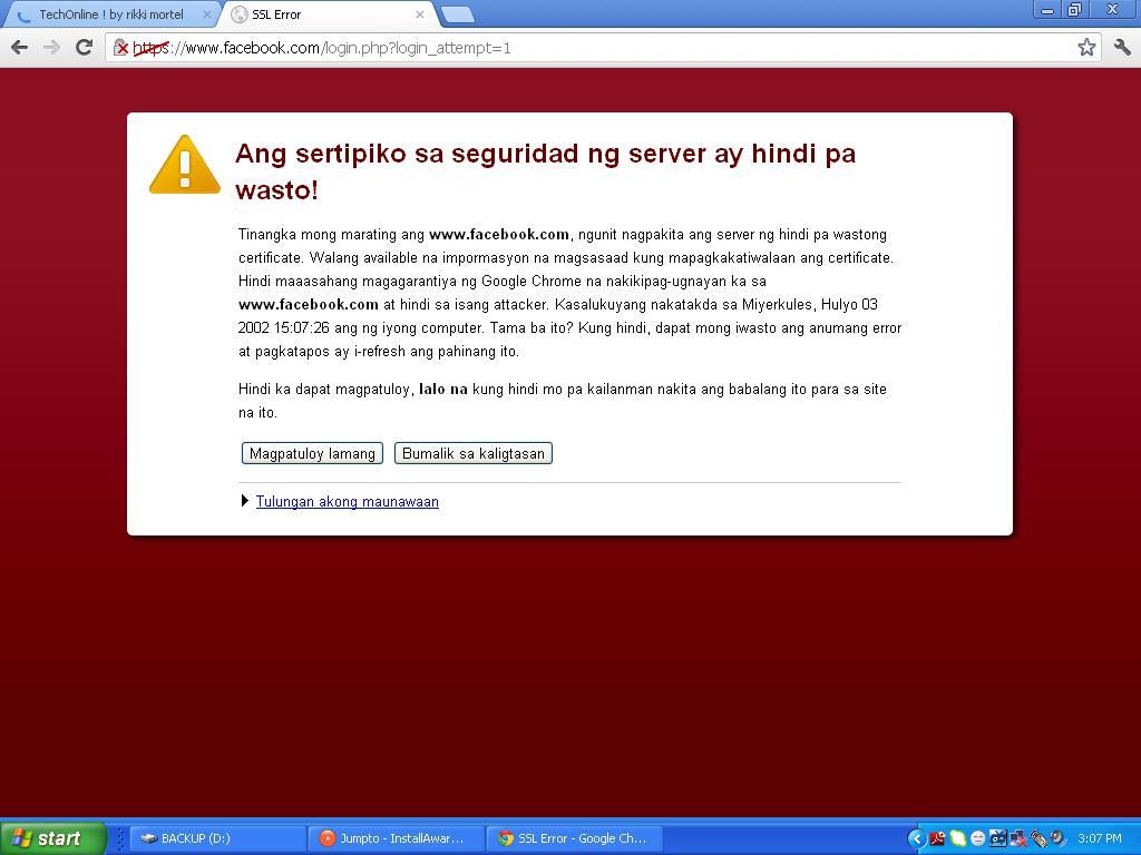 Ssl Error On Facebook Or Other Site Tech Online